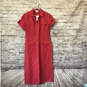 Talbots 12p 100% Linen Sheath Dress NWT Coral